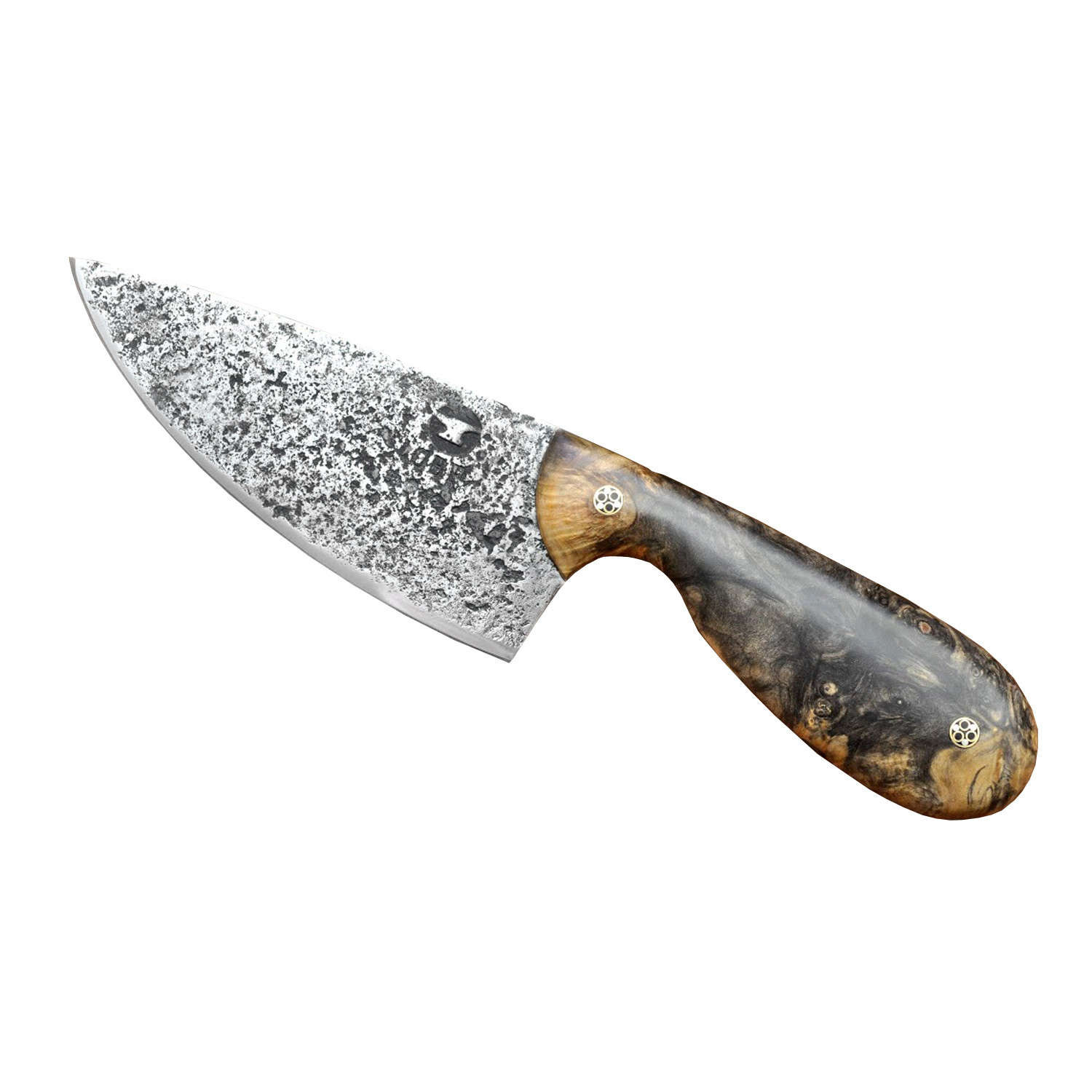Small chef knife spalted maple wood handle oaks bottom