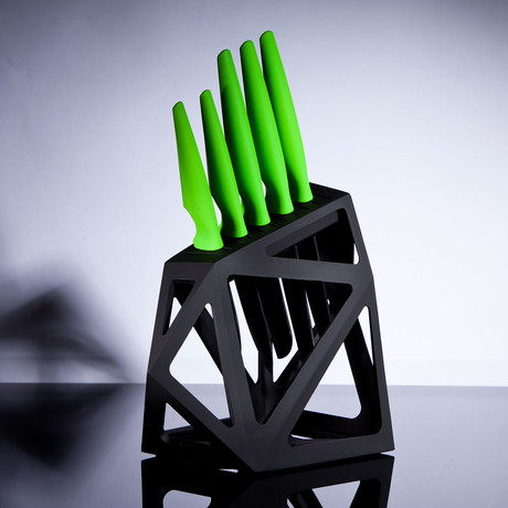 Ceramic Lime // 5 Piece Set + Knife Block