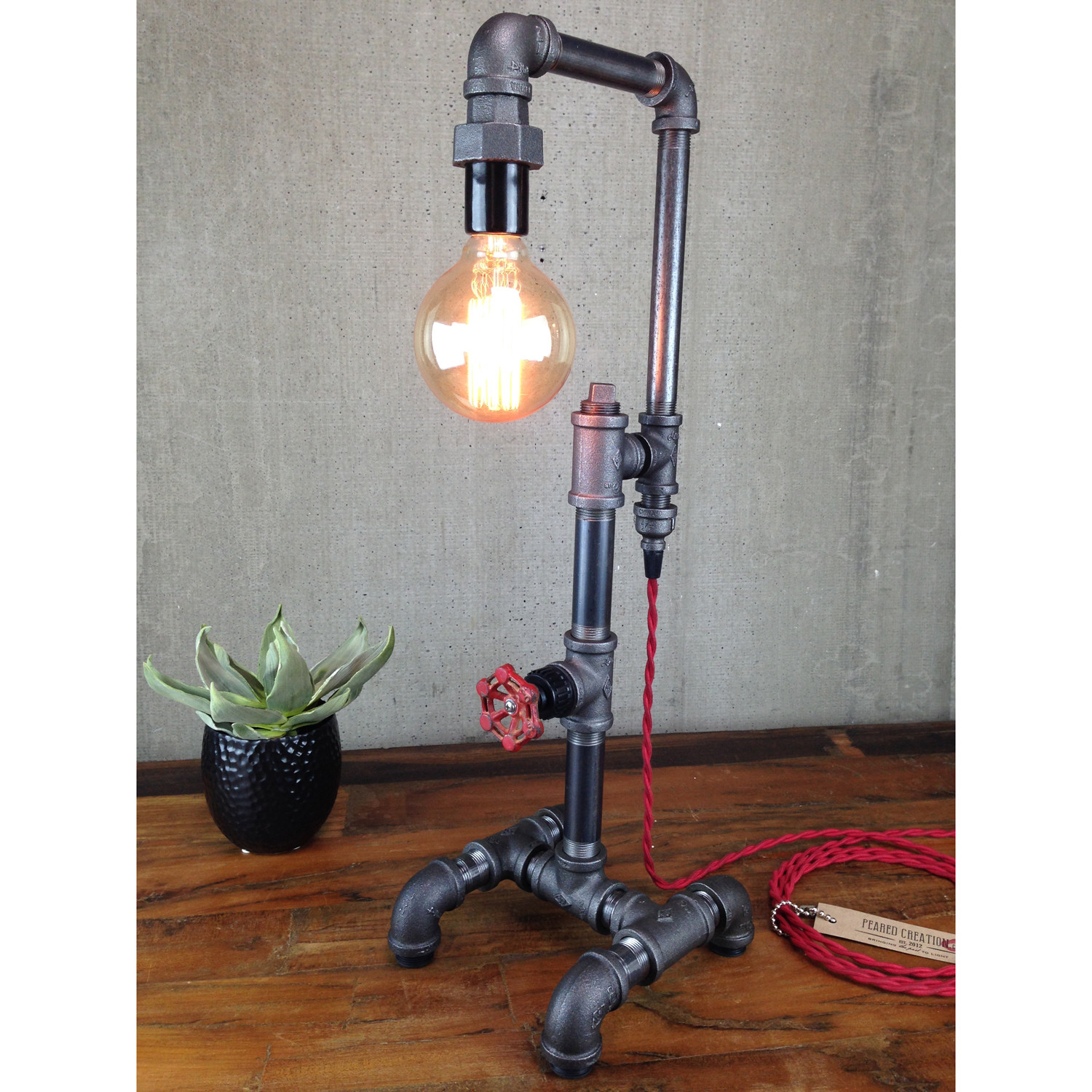 industrial style table lamp peared creation touch of modern. Black Bedroom Furniture Sets. Home Design Ideas