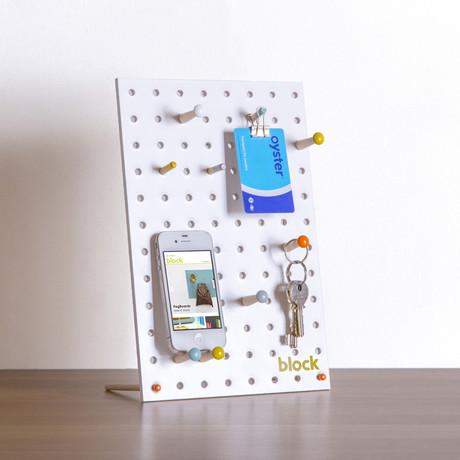"Peg Board // White (Mini // 7.8""L x 11.8""W)"