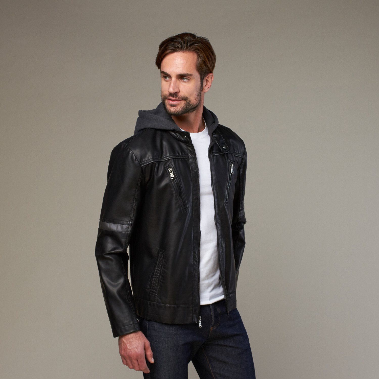 4aa3f6194f9 Urban Republic    Moto Hooded Jacket    Black (S) - Urban Republic ...