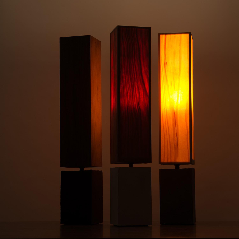 wood veneer lighting. petite table lamp concrete base with wood veneer shade lighting e