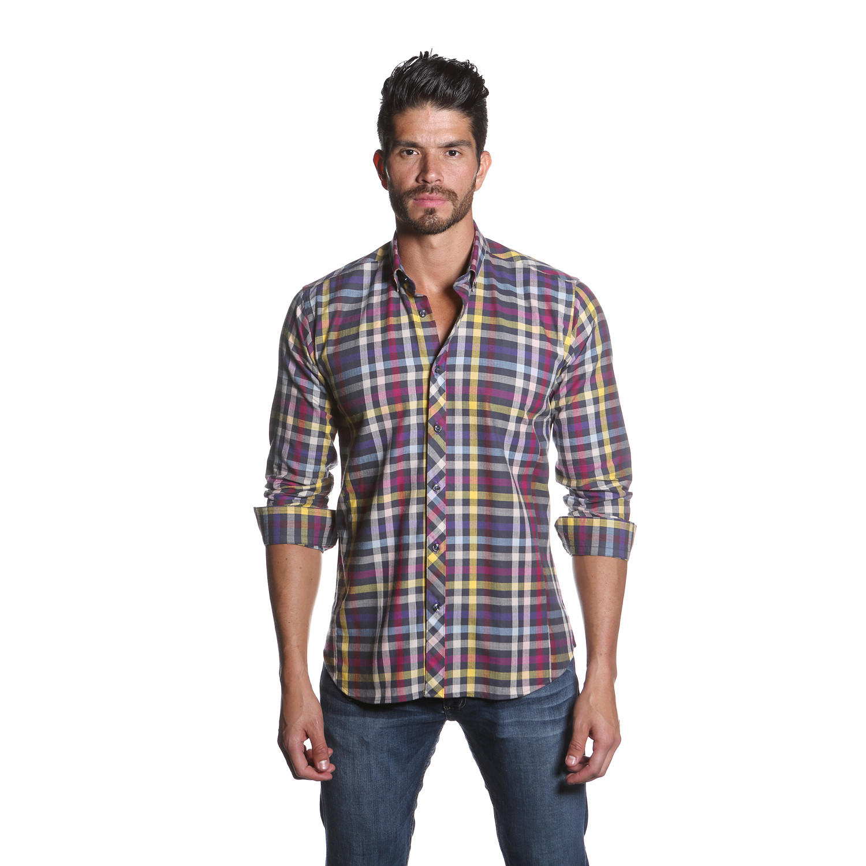Jared lang kali button up shirt purple yellow for Purple plaid button up shirt
