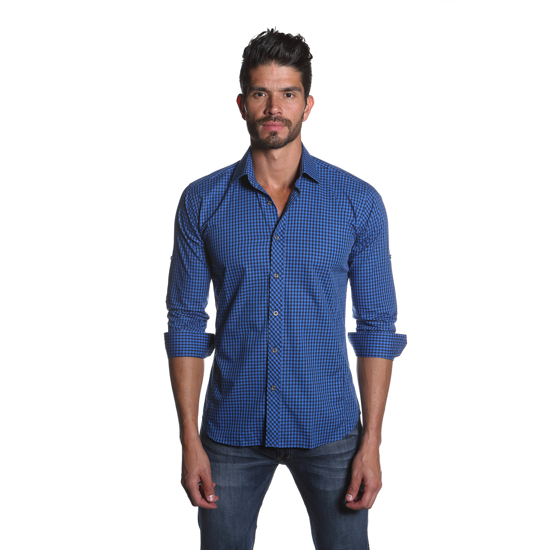 Button Up Shirt Blue Navy Gingham S Jared Lang