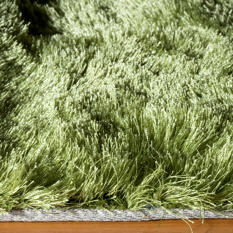 "Apple Green Plush Shag Rug (3'-0""L X 5'-0""W)"
