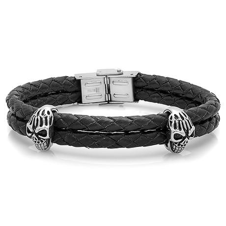 Braided Leather + Stainless Steel Skull Bracelet // Black