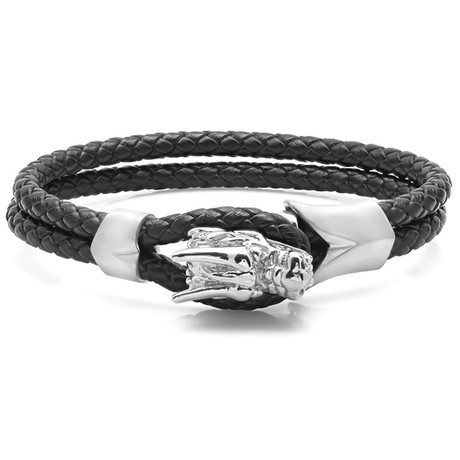 Dragon Head Bracelet (Black + Silver)