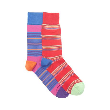 Boston Sock Set of 2 // Royal + Scarlet