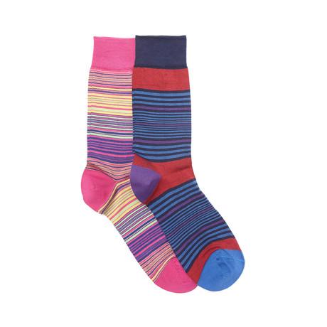 Atlanta Sock Set of 2 // Fuchsia + Navy