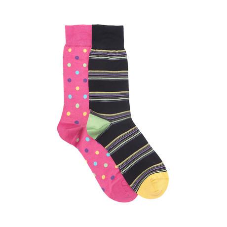 Pittsburgh Sock Set of 2 // Fuchsia + Black