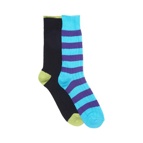 Contrast Heel + Toe Sock Set of 2 // Black + Turquoise