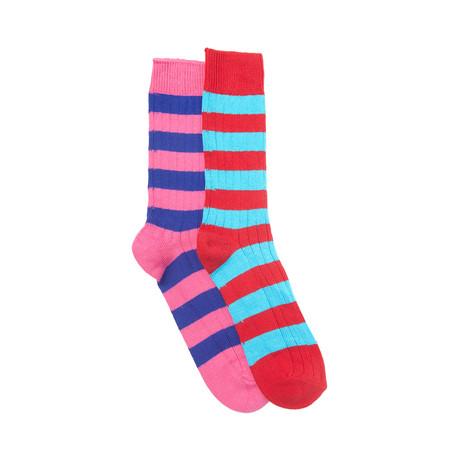 Blenheim Sock Set of 2 // Fuchsia + Scarlet