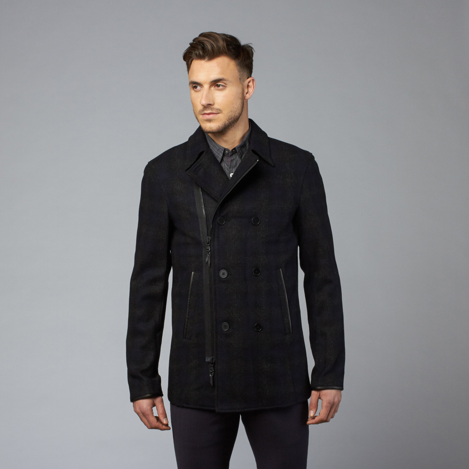 Double Breasted Zip Peacoat // Charcoal (S) - John Varvatos Star ...