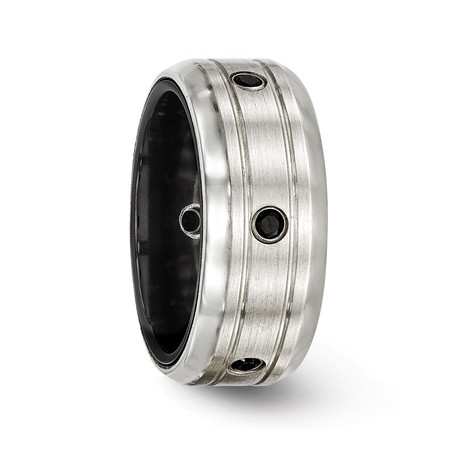 Silver Satin and Black Titanium with Polished Spinels