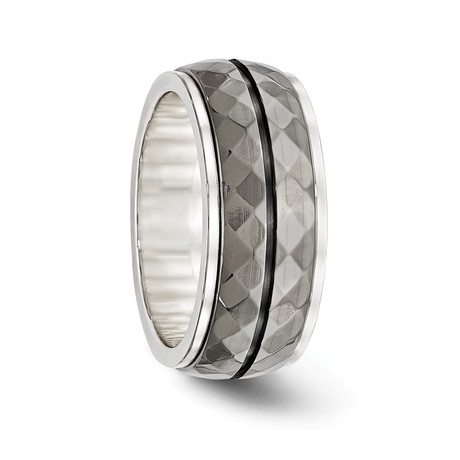 Silver with Grey Titanium Inlay and Black Groove