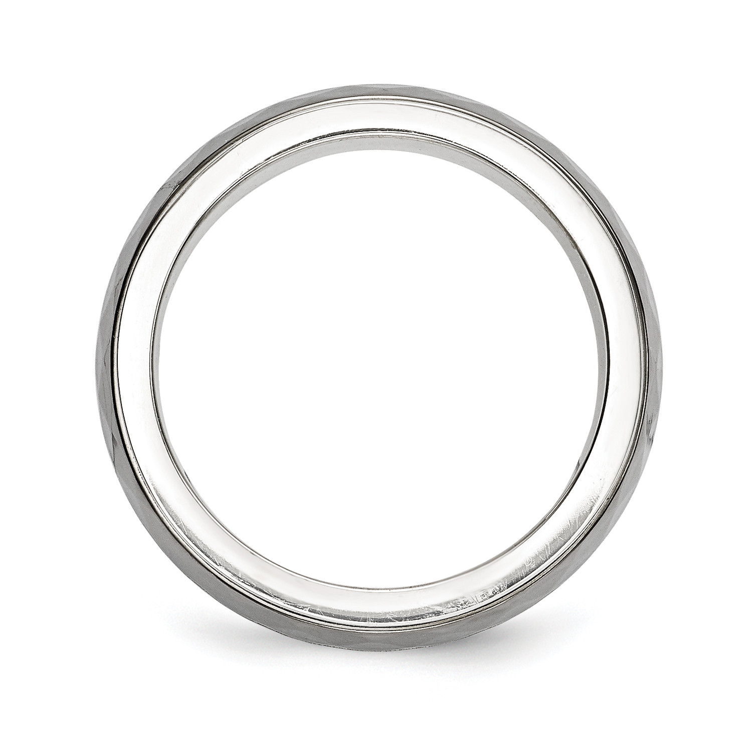 silver ring with gray titanium inlay and black groove