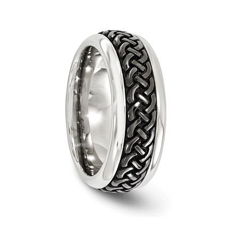 Steel Dome Tress Band with Black Titanium Pattern // 9mm