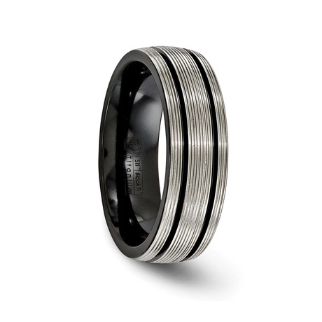 Textured Titanium with Black Grooves // 7mm