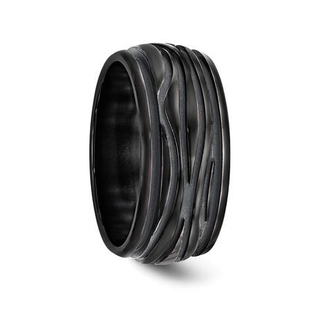 Grooved Black Titanium Wave Ring // 10mm