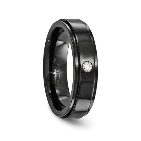 Black Titanium Band with Diamond // 6mm