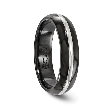 Black Titanium Domed Ring with White Gold Stripe // 6mm