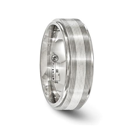 Textured Titanium White Gold Inlay Ring // 7.5mm
