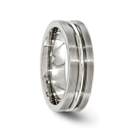 Textured Titanium Polished Center Ring // 7mm