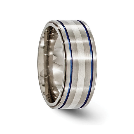 Anodized Titanium Silver Band + Blue Groove Ring // 10mm