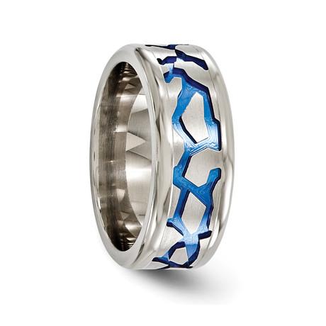 Anodized Titanium Blue Fracture Ring // 9mm