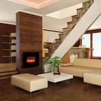 Electric Fireplace Black Glass 38 Quot L X 26 6 Quot W