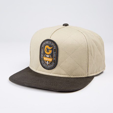 Torch Quilted Snapback Hat // Khaki