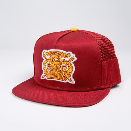 Royalty Side Mesh Snapback Hat // Burgundy