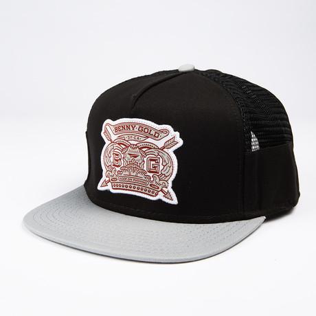 Royalty Side Mesh Snapback Hat // Black