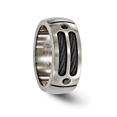 Sport Titanium Cable & Black Spinel, Sterling Silver Bezel // 9.25mm