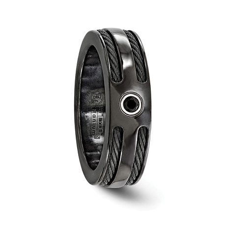 Midnight Black Titanium Cable & Spinel, Sterling Silver Bezel // 7mm