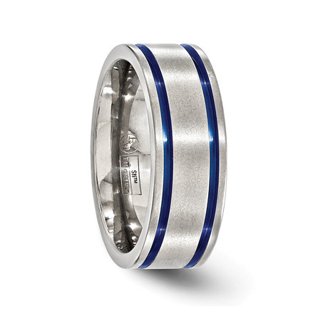 Titanium Double Groove Blue Anodized Ring // 8mm