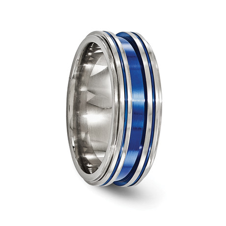Titanium Grooved Blue Anodized Ring // 8mm