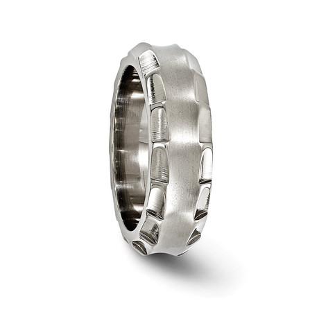 Templar Titanium Faceted Edge Ring // 8mm