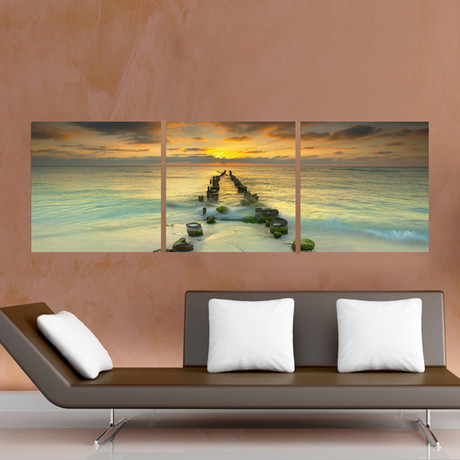 "Cancun Pier into the Ocean (20""H x 60""W x 1""D)"