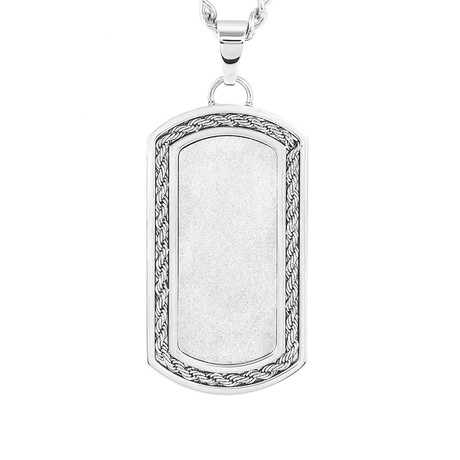 Crucible Stainless Steel Sandblasted + Rope Inlay Dog Tag Pendant // Silver