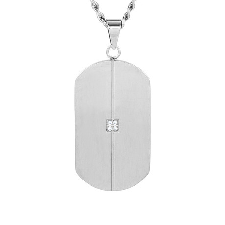 Crucible Stainless Steel Grooved Cubic Zirconia Dog Tag Pendant Necklace // Silver + Clear