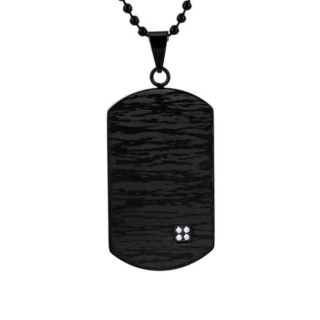 Cubic Zirconia Laser Etched Dog Tag Pendant Necklace // Black + Clear