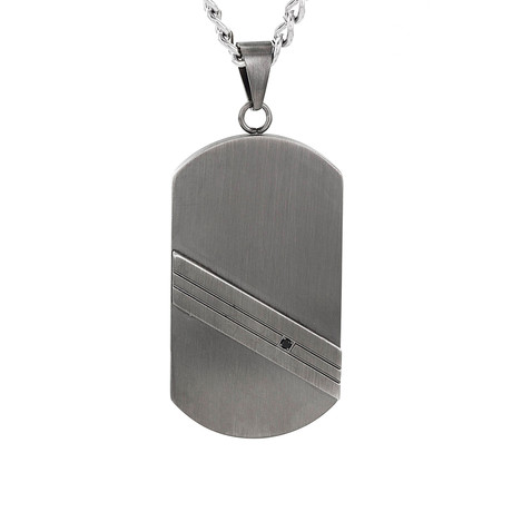 Crucible Stainless Steel Gunmetal Striped Cubic Zirconia Dog Tag Pendant Necklace // Gray + Black