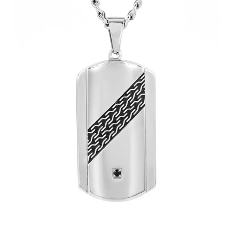 Crucible Stainless Steel Cubic Zirconia Dog Tag Necklace // Silver + Black