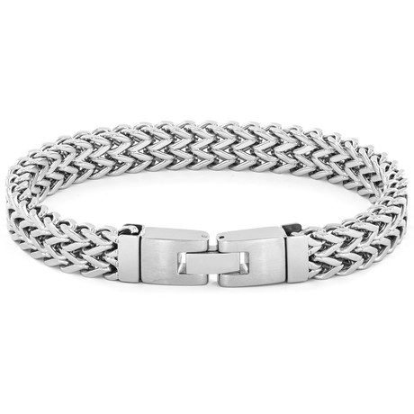 Crucible High Polish Stainless Steel Double Franco Link Bracelet // Silver