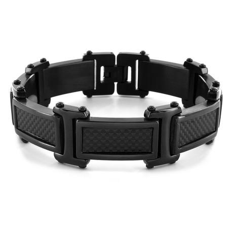 Carbon Fiber Link Bracelet // Silver