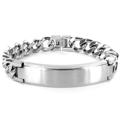 Stainless Steel ID Plate Curb Bracelet // Silver