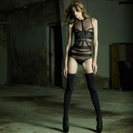 Elastic Bands Body Suit // Black
