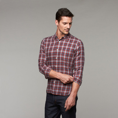 Redwood Slim Fit Button-Up // Red Plaid