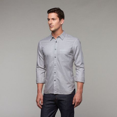 French Seam Slim Fit Button-Up // Light Grey